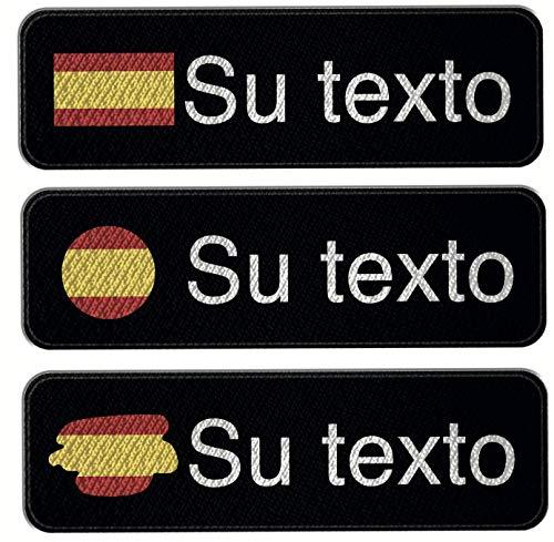 3 Parches bordado con nombre personalizado, bandera de España, 11cm x 3cm, color negro y blanco, personalizable en varios colores, parche termoadhesivo (Negro)