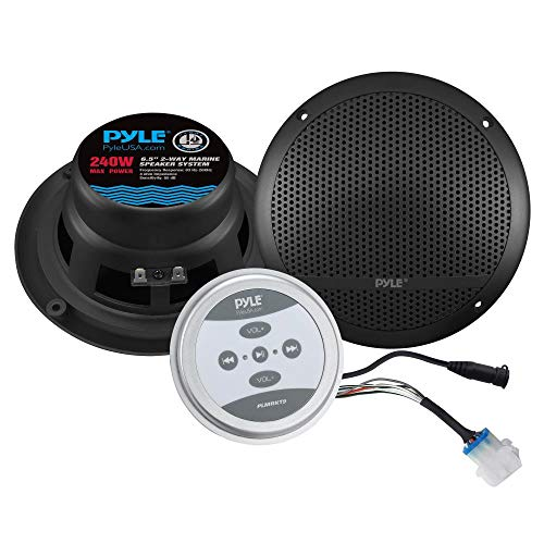 """Pyle Bluetooth Marine Grade Flush Mount 2-Way Speaker System Amplified Full Range Stereo Sound Dual Cone Dome Waterproof Universal Home with Aux 3.5mm Input Pair 6.5"""" 240 Watts (PLMRKT9) Black"""
