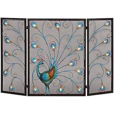 Benzara Peacock Themed Metal 3- Panel Fireplace Screen, Multicolor from Benzara