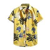 BSaogr Camisa de manga corta para hombre con estampado de manga corta para hombre, amarillo, S