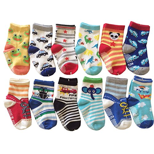 6 Pairs Anti-Slip Non Skid Cozy Ankle Cotton Socks Baby Boys Girls Toddler Walker Cartoon Sneakers Crew Socks with Grip for 12-36 Months Toddler