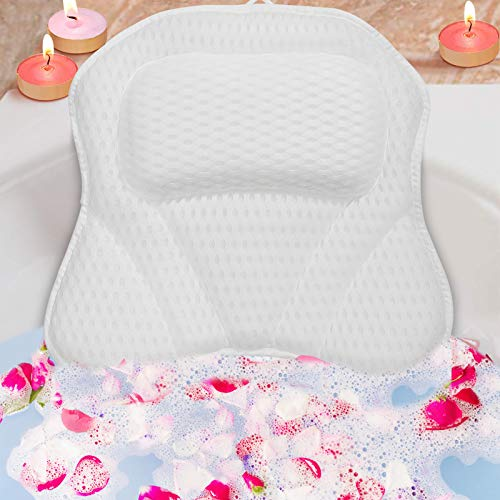 Luxury Spa Bath Pillows for Tub Neck and Back Support with 6 Strong Non-Slip Suction Cups and Comfortable Washable 3D Air Mesh Bath Pillow Fits All Bathtub, Hot Tub, Jacuzzi (White)