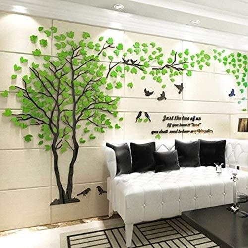 KTDT Kreativer Liebesbaum 3D Stereo Wandaufkleber Rot Grün Groß Acryl Applique Wohnzimmer Schlafzimmer Hintergrund Wanddekoration DIY Abnehmbar (einschließlich Blätter, Vögel, Buchstaben, etc.)