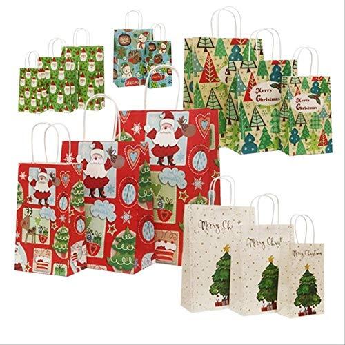 Bolsa de papel Kraft de Navidad Bolsa de papel con asas Decoración de papel de regalo para fiesta de Navidad 13 x 21 cm diseño mixto