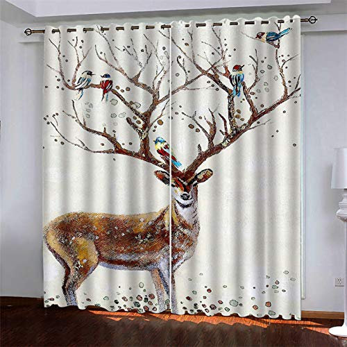 MMHJS 3D Digital Printing Curtain Houseware Hotel Bedroom Living Room Shade Thickened Polyester Partition Curtain Is Dirt-Resistant And Waterproof 2 Pieces