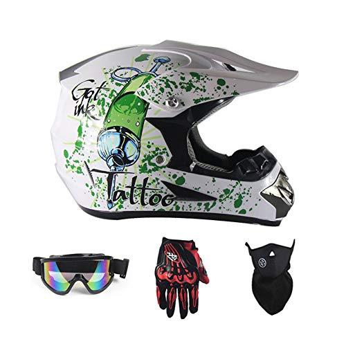 SanQing Casco de la Motocicleta, Suciedad Niños Jóvenes Bicicletas Cascos, Carreras de Motocross Casco de la Bici Universal de Cuatro Estaciones (Guantes, Gafas, máscara, 4 Piezas),Green Cola,S