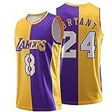 GAOXI Laker 8# 24# Jersey de Baloncesto conmemorativo, Logotipo de Equipo Bordado y Tejido de Malla Digital Transpirable, Camisetas de Baloncesto para Hombres y Mujeres Yellow Purple-L