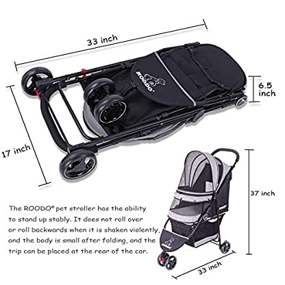 ROODO Escort Pet Stroller Dog and cat pet Three-Wheeled cart - Lightweight, Compact, Portable, Practical, Removable, Change Color (Black special edition) 4