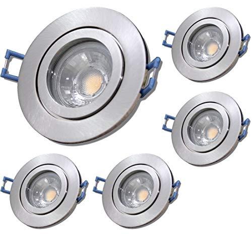 LED Bad Einbaustrahler 230V inkl. 5 x 5W LED Modul Farbe Eisen geb. IP44 LED Deckenspots Neptun Rund 4000K Einbauleuchten