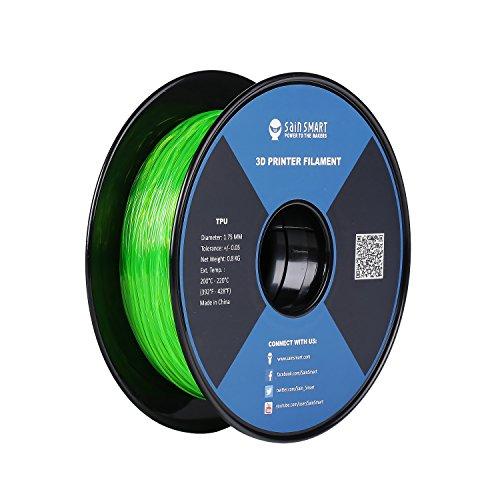 サインスマートSainSmart 3Dプリンタ向け1.75mm 0.8kg フレキシブル(TPU)シリーズ フィラメントRepRap グリーン