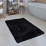 Alfombrilla De Baño Moderna Alfombrilla Shaggy Mullida Suave Monocolor En Negro, tamaño:70x120 cm