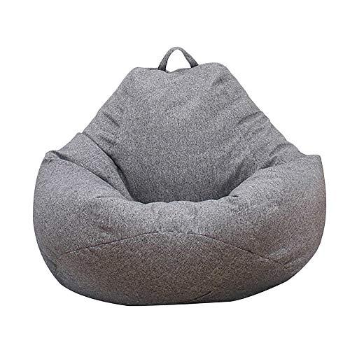 Keyohome Puff Funda XL de Bean Bag Puff Sofá Cubierta Sillas Sin Relleno con Tres Bolsillos en el Lateral 100x120cm Nueva Versión Mejorada (Gris)