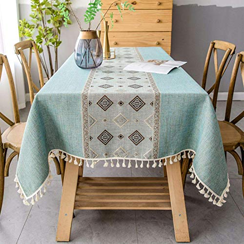 Smiry Embroidery Tassel Tablecloth - Cotton Linen Dust-Proof Table Cover for Kitchen Dining Room Party Home Tabletop Decoration (Rectangle/Oblong, 55 x 86 Inch, Light Green)