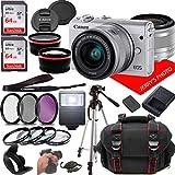 Canon EOS M100 (White) Mirrorless Camera Kit w/EF-M15-45mm and 1080P Video + Case + 128GB Memory (25pc Bundle)