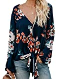 Actloe Women Boho Tops Floral Print Long Sleeve Tops V Neck Casual Loose Womens Tops and Blouses S Floral Orange