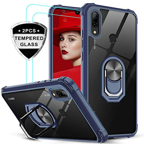 LeYi für Huawei P Smart 2019 Hülle Honor 10 Lite Handyhülle mit Panzerglas Schutzfolie(2 Stück), Ringhalter Schutzhülle Crystal Clear Acryl Cover Handy Hüllen für Case Huawei P Smart 2019 Blau