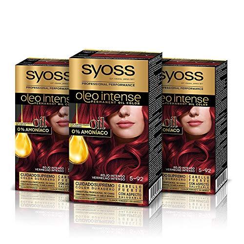 Syoss Oleo Intense - Tono 5-92 Rojo Intenso (Pack De 3) – Coloración permanente sin amoníaco – Resultados de peluquería – Cobertura profesional de canas