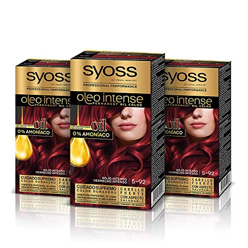 Syoss Oleo Intense - Tono 5-92 Rojo Intenso (Pack De 3) –...