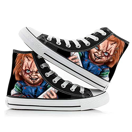 BSHDUFN Good Guys Chucky Schuhe Unisex Hohe Schuhe Personalisieren Printed Schnürsystem Schuhe Schuhe Freizeit Sneakers Good Guys Chucky Sneakers (Color : A03, Size : EU35 US4.5)