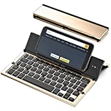 Foldable Bluetooth Keyboard, Geyes Folding Wireless Keyboard with Portable Pocket Size, Aluminum Alloy Housing, Carrying Pouch, for iPad, iPhone, and More Tablets, Laptops and Smartphones(Gold)