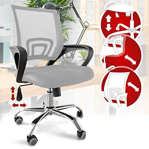 Bürostuhl - ergonomisch, mit Armlehnen und Rollen, Netzbezug und Wippfunktion, höhenverstellbar, bis 120kg belastbar, Hellgrau - Chefsessel, Drehstuhl, Schreibtischstuhl, Computerstuhl für Home Office
