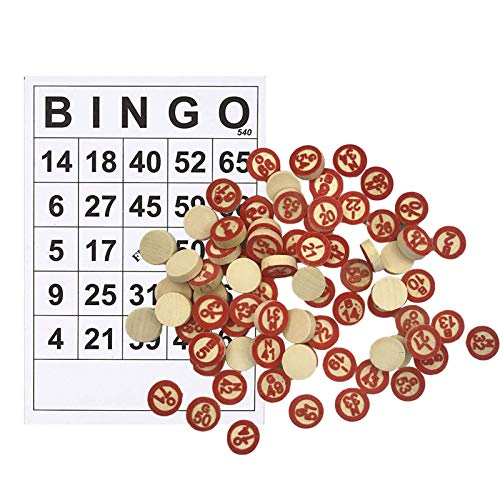 IrahdBowen Juego De Bingo De Madera Vintage con 40 Tarjetas De Números De Bingo Y 75 Ajedrez para Juegos De Grupos Grandes 708 59 Pulgadas Enjoyable