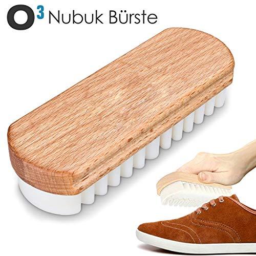 O³ Wildlederbürste für Schuhe // Nubuk Bürste zur Pflege von Lederoberflächen // Weiche Kreppbürste für Wild- und Rauleder, Nubuk und Velour // Optimal für eine schonende Schuhreinigung