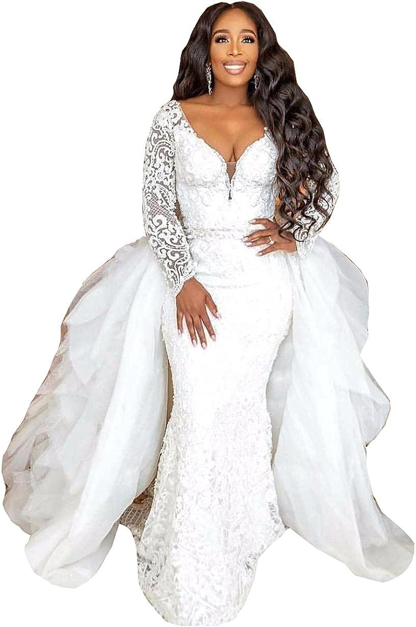 Sequins Lace up Corset Bridal Gowns Detachable Train Mermaid Wedding Dresses for Bride Plus Size