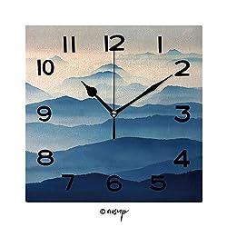 FashSam Print Square Wall Clock, 8 Inch Foggy Landscape in The Romanian Carpathians Quiet Desk Clock for Home,Office,School No-32639