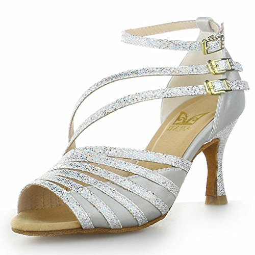 JIA JIA Y20517 Damen Sandalen Ausgestelltes Heel Super-Satin Latein Tanzschuhe Silber, 38