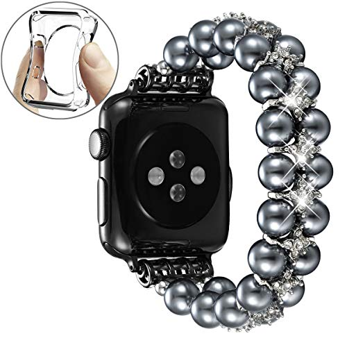 fastgo Compatible with Apple Watch Band 42mm 44mm,Women Girls Fancy Handpicked Artificial Pearl Elastic Stretch Bracelet Jewelry Wristband Compatible for Iwatch Series 5/4/3/2/1(Space Gray, 42mm/44mm)