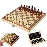 SHBV Juego de Tablero de ajedrez de Madera magnética 29x29 cm - Juego de ajedrez Plegable Profesional Juego de Tablero de ajedrez de Viaje de Almacenamiento Interior Plegable portátil para Adulto