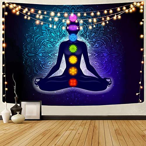 Tapiz de siete chakras tapiz de mandala bohemio para colgar en la pared, tapices para decoración de sala de meditación, yoga, boho, loto, espacio espiritual, arte, fondo de pared para decoración de do
