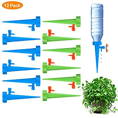 Fostoy Plant Waterer, 12 PCS Self Plant Watering Spikes System with Slow Release Control Valve Switch, Automatic Plant Waterer Device Irrigation Drippers for Outdoor Indoor Flower or Vegetables by Fostoy