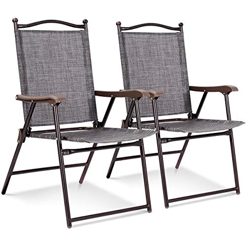 Giantex Set of 2 Folding Sling Back Chairs Indoor Outdoor Camping Chairs Garden Patio Pool Beach Yard Lounge Chairs w/Armrest (Gray)