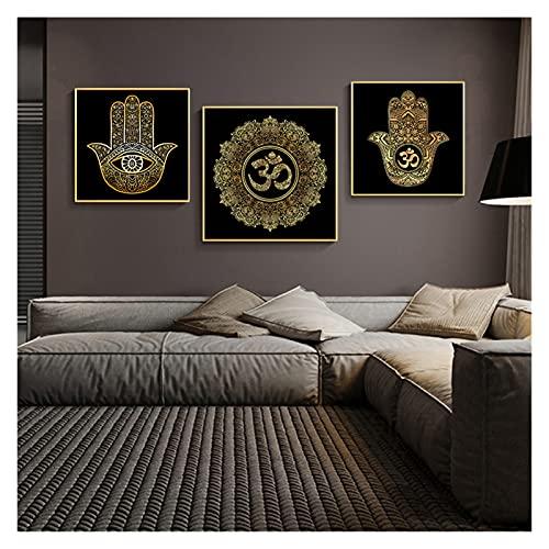 CBYLDDD Swall Moderno Arte Marruecos Mandala Lotus Mano de Fátima y Estampados Decoración del hogar 20x20x3 Sin Marco