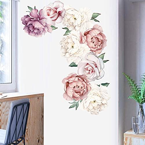 Adesivo Murale Fiori Rosa,Parete Peonia Flower Pattern Stickers murali,Romantico Peonia Fiore Sticker Murali per Camerette Bambini Soggiorno Asilo Nido Festa Decorazioni