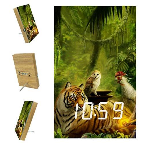 Vockgeng Digitaler Wecker Waldtier Tiger Eule LED Tischuhr mit Temperaturanzeige,USB Wiederaufladbar Reisewecker mit 3...