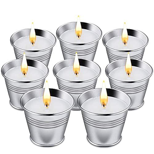 McNory 8 Pièces Bougie Citronnelle Anti Moustique,Bougies Parfumées à la Cire de Soja, Bougies Anti-moustiques pour Jardin,Terrasse,Pique-Nique,Piscine,Camping,Réunions de Famille