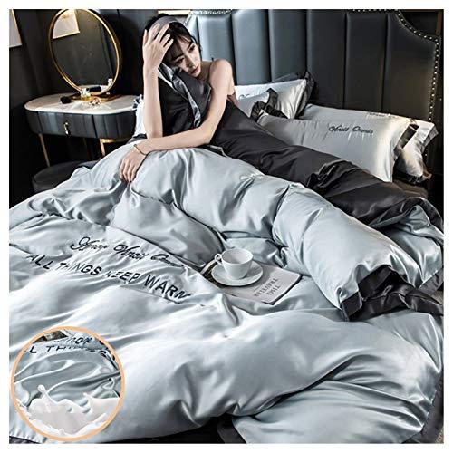 WWYL Funda de edredón, funda de edredón de seda satinada, funda de edredón doble, sábana bajera y 4 fundas de almohada (gris-A, cama de 1,5 m)