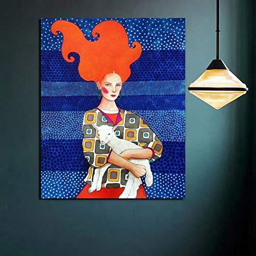 KWzEQ Weinleseplakatmädchen, das Schafe gemalt auf Leinwanddruck Wohnzimmerdekoration modernes Zuhause hält,Rahmenlose Malerei,50x60cm