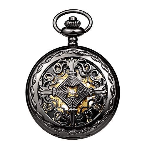 TREEWETO Reloj de bolsillo para hombre y mujer, diseño de esqueleto de cobre, color negro