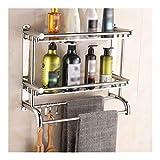 Toallero esquina estantes de almacenamiento Titular Cuarto de baño con una toalla en rack ganchos de acero inoxidable pulido montado en la pared estante de baño ( Color : Double Layer , Size : 50cm )