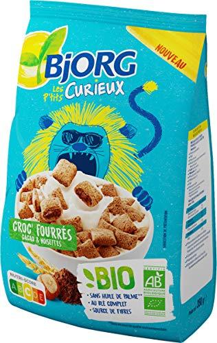 Bjorg Les P'tits Curieux – Croc' Fourrés Cacao et Noisettes – Céréales Enfants pour le Petit Déjeuner – BIO - 1 Paquet de 350 g