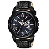 Dial Color: Black, Case Shape: Round,Case material: Stainless Steel Band Color: Black, Band Material: Leather Watch Movement Type: Quartz , Watch Display Type: Analog Unique Stainless Steel strap make it comfortable to wear and stylish as well 6 Mont...