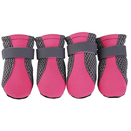 Whiie891203 Botas y protectores de patas, 4 botas de malla transpirable para perro, zapatos para perros, suela suave antideslizante, transpirables, correas ajustables, botas para perro, calcetines de nieve, Rosa, Medium
