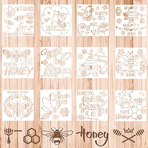 Qingsi 12 plantillas de abeja para dibujo de panal de abeja, plantillas de panal, reutilizables para pintar en pared, tela, muebles, manualidades, decoración del hogar