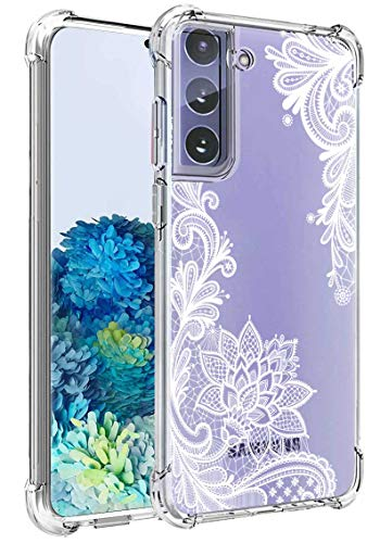 Lmposla for Galaxy S21 Case, Shockproof Slim Ultra-Thin Flexible TPU Soft Silicone Airbag Anti-Drop Case Cover for Samaung Galaxy S21[NOT Fit Galaxy S21 Plus] (White lace/Mandala)