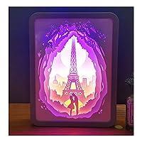 QGGESY パリエッフェル塔3D常夜灯、クリエイティブな3Dペーパーカットテーブルランプ、愛好家のためのロマンチックなお土産(ギフトボックスを含む),A