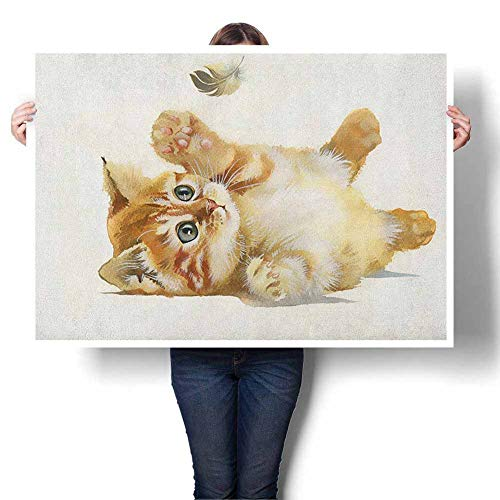 """Animal Oil Painting, Cute Cat Playing with Feather in Watercolors Hand Drawn Illustration Art Modern Stretched and Framed Artwork for Living Room 16"""" Wx20 L Apricot Cream White"""